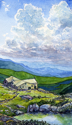 """Lakes of the Clouds Hut,"" 3.5 x 9.5 inch watercolor and ink on paper (SOLD)"