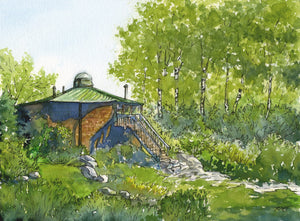 Appalachian Mountain Club Lonesome Lake Hut, Franconia Notch, White Mountain National Forest, New Hampshire, original watercolor landscape painting of a backcountry hut near Franconia Notch, by Artist Rebecca M. Fullerton