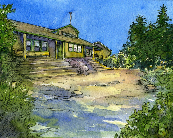 Appalachian Mountain Club Zealand Falls Hut, White Mountain National Forest, White Mountains, New Hampshire. Fine art print of a watercolor painting. Gifts for hikers, backpackers, outdoor enthusiasts and hut fans.