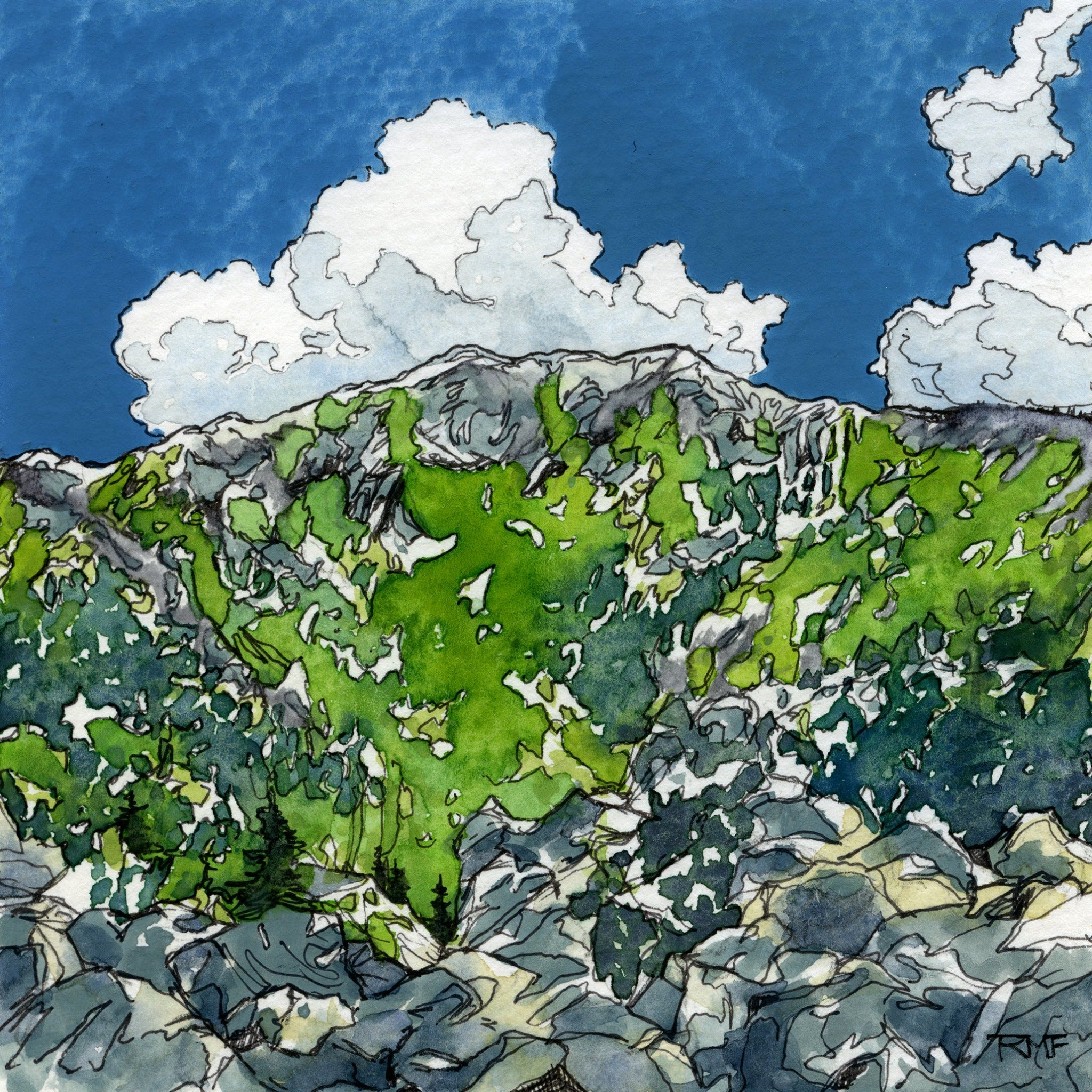 """In Carter Notch,"" 4.25x4.25 inch watercolor and ink painting on paper, by Rebecca M. Fullerton. White Mountains landscape paintings."