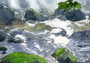 """Rocks Among Ripples,"" framed 5x8 inch watercolor and ink painting on paper, by Rebecca M. Fullerton. White Mountain landscape paintings."