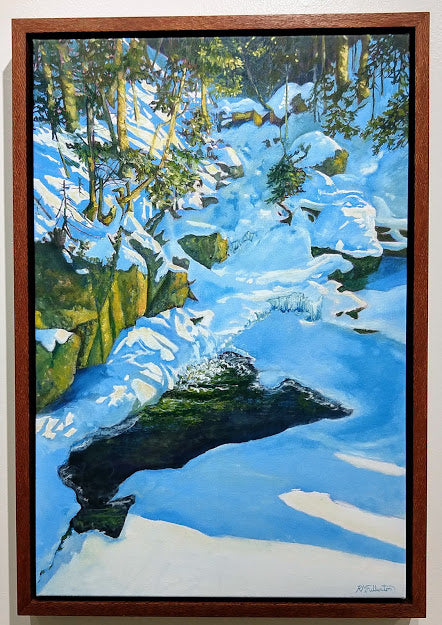 Gibbs Brook, 20 by 30 original oil on canvas landscape painting by Rebecca M. Fullerton, Artist. A winter scene along the Crawford Path, White Mountain National Forest, New Hampshire.