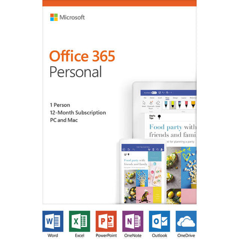 Microsoft Office 365 Personal / 12-month subscription, 1 person, PC/Mac Key Card