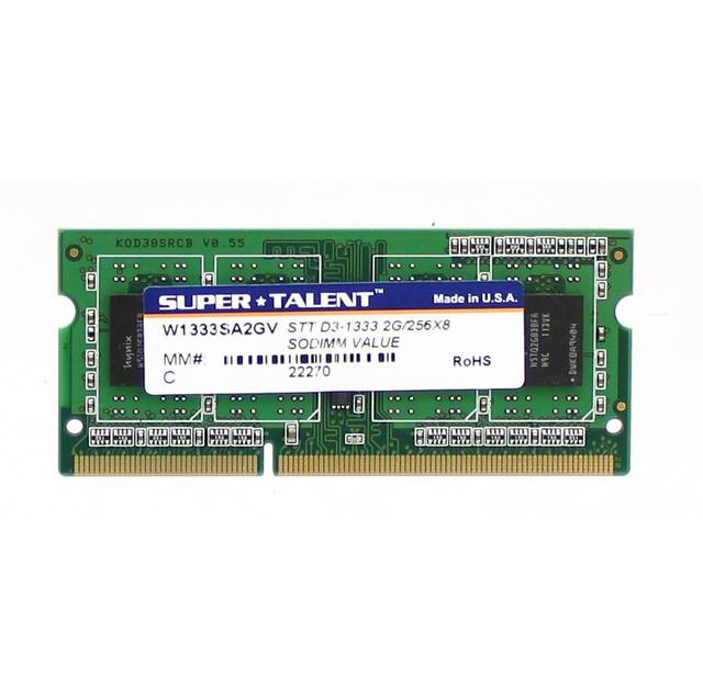 Super Talent DDR3-1333 SODIMM 2GB/256X8 Notebook Memory