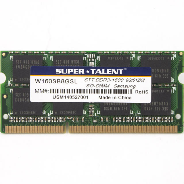 Super Talent DDR3-1600 SODIMM 8GB/512Mx8 CL11 Samsung Chip Notebook Memory