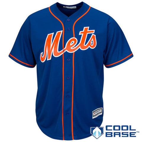 This New York Mets Cool Base® Royal Blue Jersey is a revolutionary new lightweight and breathable button front jersey with team color and styling. A printed tackle twill decoration on the chest makes the official team logo pop against the braid seams. This athletic, modern fit jersey also features a center back neck MLB silhouetted batter patch. A tagless neck label, and an MLB performance transfer locker tag is included.