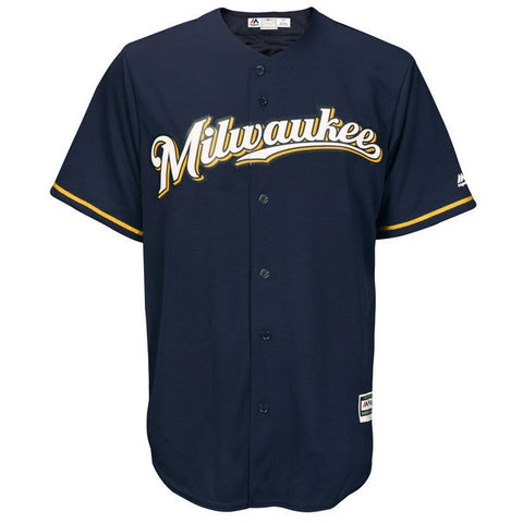 Milwaukee Brewers Majestic Athletic Cool Base Navy Jersey