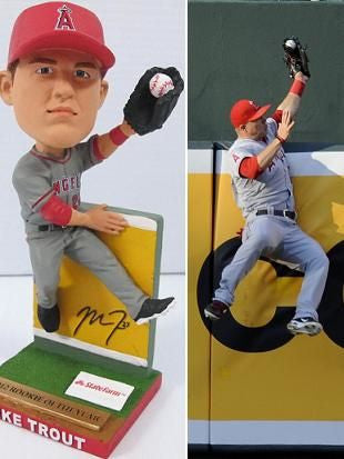 "Los Angeles Angels Mike Trout 'The Catch"" Bobblehead SGA"