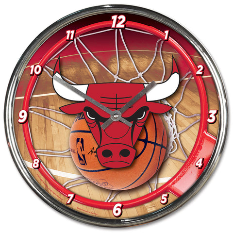 Chicago Bulls Round Chrome Wall Clock