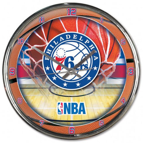 Philadelphia 76ers Chrome Round Wall Clock