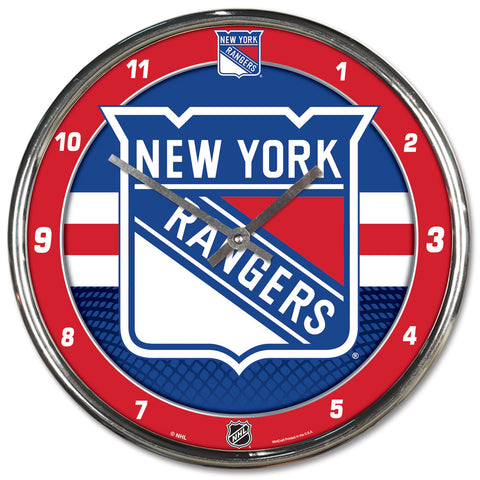 New York Rangers Round Chrome Wall Clock