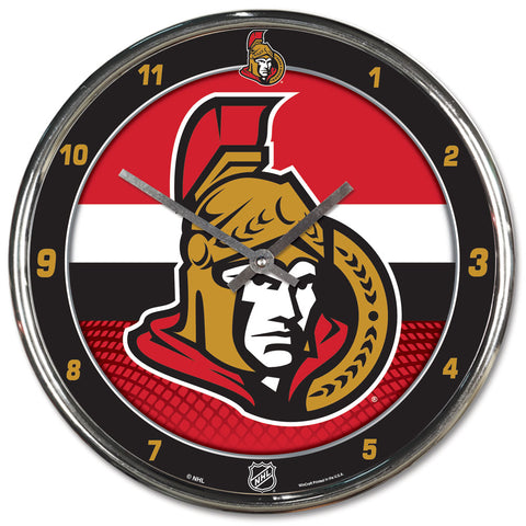 Ottawa Senators Clock Round Chrome Wall Clock