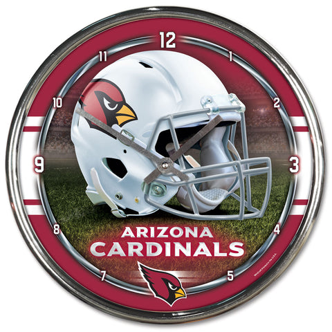 Arizona Cardinals Round Chrome Wall Clock