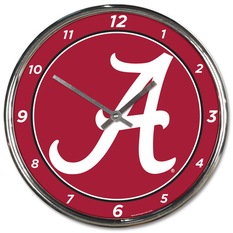 Alabama Crimson Tide Round Chrome Wall Clock