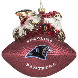 "Carolina Panthers 5 1/2"" Peggy Abrams Glass Football Ornament"
