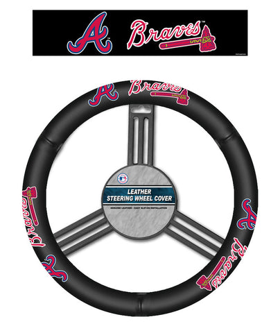 Atlanta Braves Steering Wheel Cover - Leather