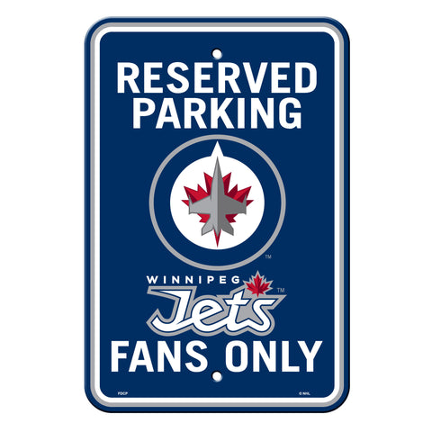 Winnipeg Jets Sign Plastic Reserved Parking 12 in x 18 in