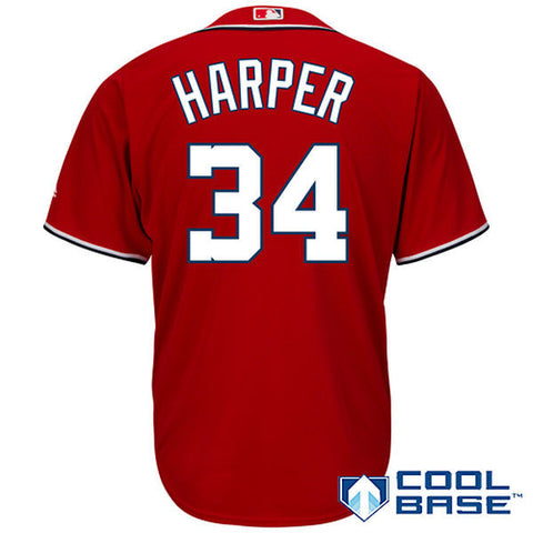 Washington Nationals Bryce Harper #34 Majestic Athletic Cool Base Red Jersey