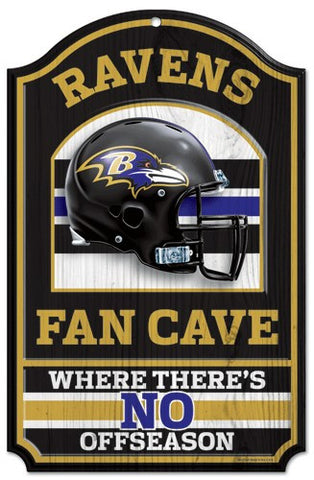 "Baltimore Ravens 11x17"" Wooden Fan Cave Sign"
