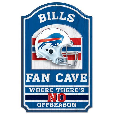 "Buffalo Bills 11x17"" Wooden Fan Cave Sign"