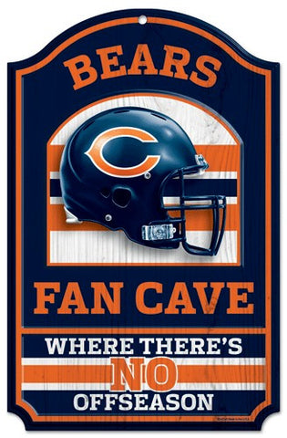 "Chicago Bears 11x17"" Wooden Fan Cave Sign"