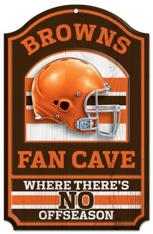 "Cleveland Browns 11x17"" Wooden Fan Cave Sign"