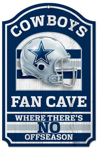 "Dallas Cowboys 11x17"" Wooden Fan Cave Sign"