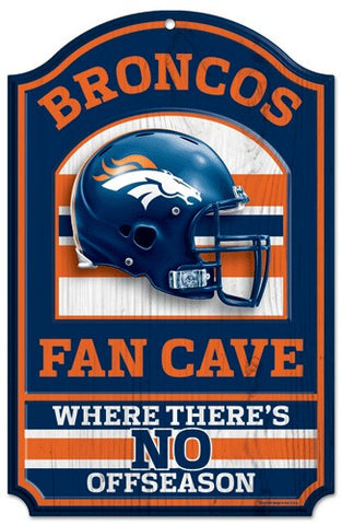 "Denver Broncos 11x17"" Wooden Fan Cave Sign"