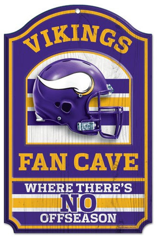 "Minnesota Vikings 11x17"" Wooden Fan Cave Sign"