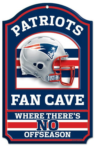 "New England Patriots 11x17"" Wooden Fan Cave Sign"