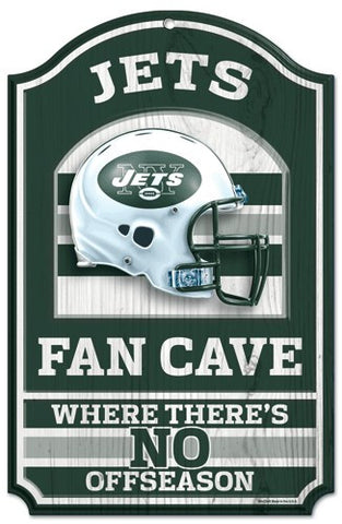"New York Jets 11x17"" Wooden Fan Cave Sign"