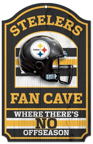 "Pittsburgh Steelers 11x17"" Wooden Fan Cave Sign"