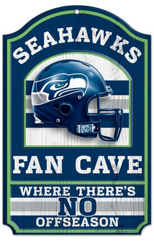 "Seattle Seahawks 11x17"" Wooden Fan Cave Sign"