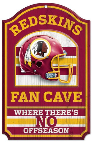 "Washington Redskins 11x17"" Wooden Fan Cave Sign"