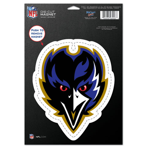 Baltimore Ravens Magnet - 6.5 in x 9 in - Die-Cut - Logo (Front View)