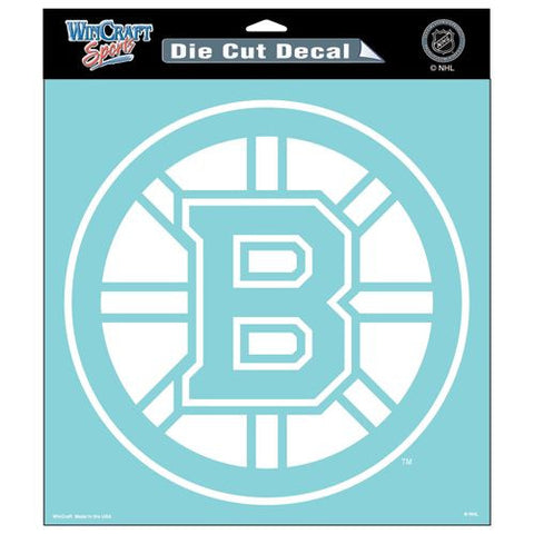 Boston Bruins White Die Cut Decal 8x8""