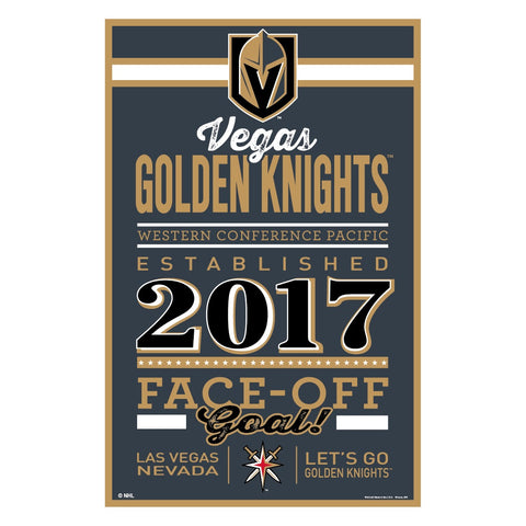 Vegas Golden Knights Wooden Established Sign 11x17""