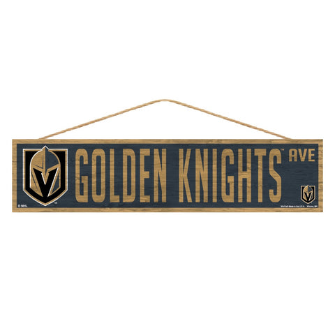 Vegas Golden Knights Wooden Avenue Sign 4x17""