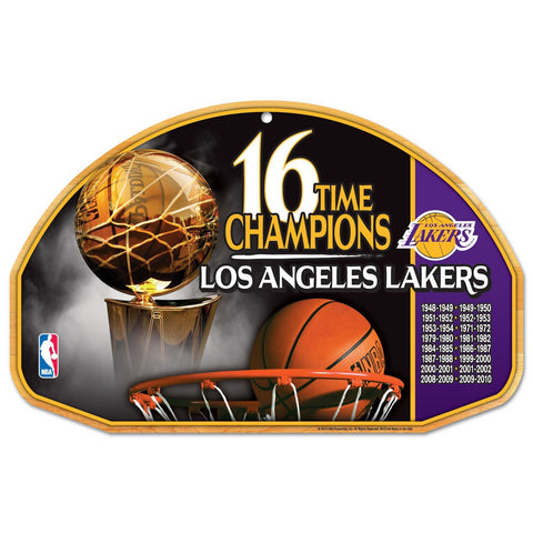 "Los Angeles Lakers 16-time Champions Wood Sign - 11"" x 17"""