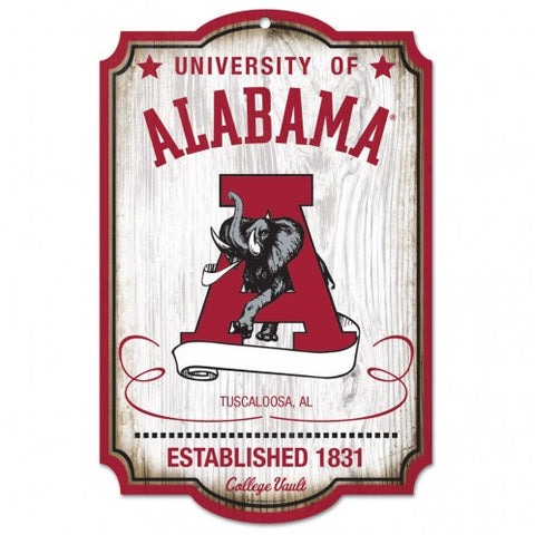 "Alabama Crimson Tide Wood Sign - College Vault - 11"" x 17"""