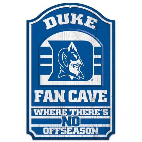 "Duke Blue Devils 11x17"" Wooden Fan Cave Sign"