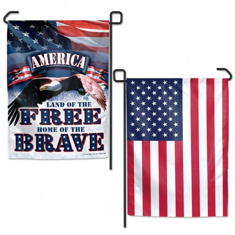 American Flag 12x18 Garden Style 2 Sided Free-Brave
