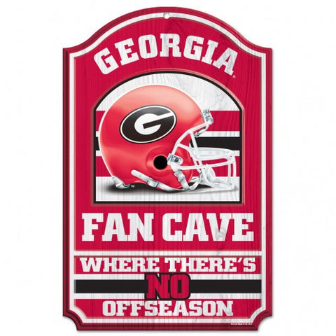 "Georgia Bulldogs 11x17"" Wooden Fan Cave Sign"