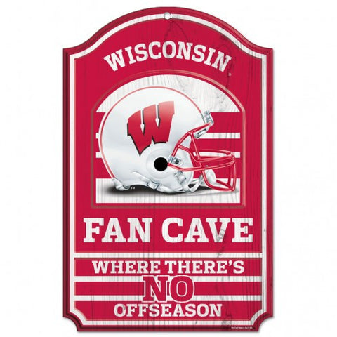 "Wisconsin Badgers 11x17"" Wooden Fan Cave Sign"