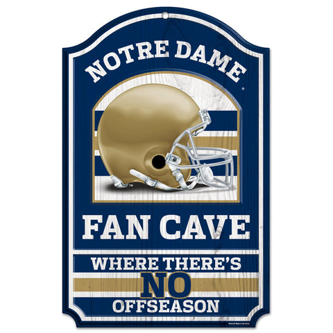 "Notre Dame Fighting Irish 11x17"" Wooden Fan Cave Sign"