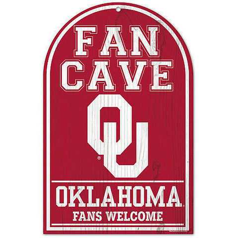 "Oklahoma Sooners 11x17"" Wooden Fan Cave Sign"