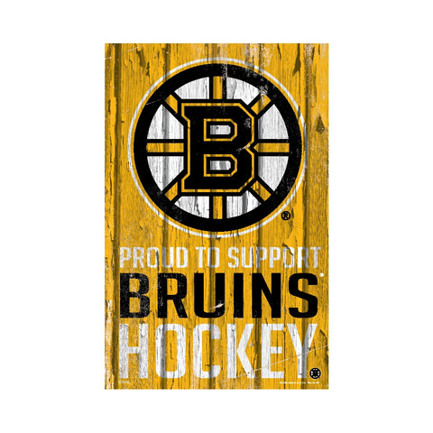 Boston Bruins Proud to Support Wooden Sign 11x17""