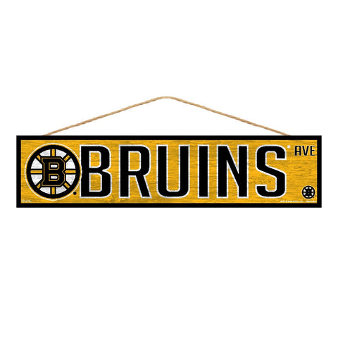 Boston Bruins Wooden Avenue Sign 4x17""