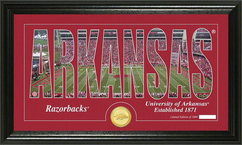 Arkansas Razorbacks Silhouette Bronze Coin Panoramic Photo Mint