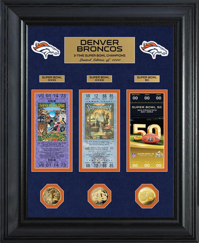 Denver Broncos 3-Time Super Bowl Champions Deluxe Silver Coin & Ticket Collection
